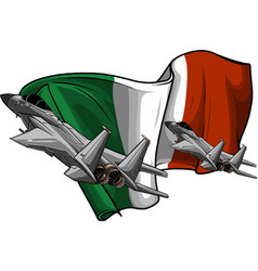 Military fighter jets with italian flag vector