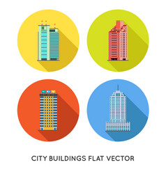 modern city buildings and houses flat icons set vector image