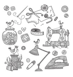 Needlework sewing tools vector