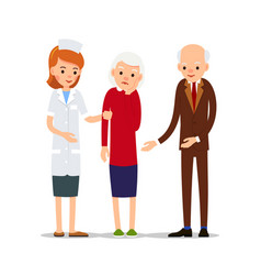 nurse are taking sick woman next to her husband vector image