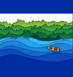 paper cut river top view water stream and green vector image
