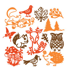 paper cut silhouette vintage forest animals set vector image