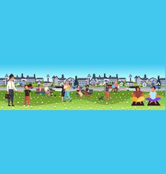 people walking outdoors coronavirus win men women vector image