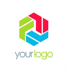 Polygon colorful shape logo vector