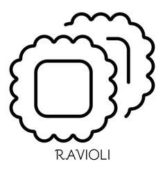 Ravioli pasta icon outline style vector
