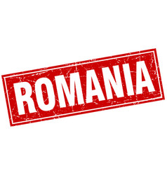Romania red square grunge vintage isolated stamp vector