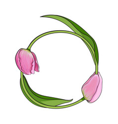 round frame formed by two tulip flowers place for vector image vector image