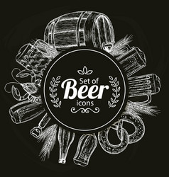 Round template with beer icons on black background vector