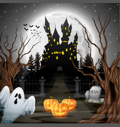 scary castle with ghost and pumpkins in the woods vector image