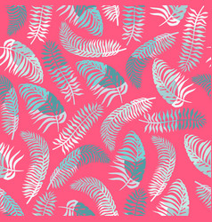 Seamless pattern with blue tropical leaves vector