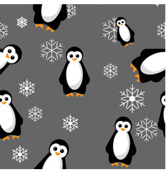 seamless penguin pattern with vector image
