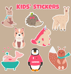 set of cute kids stickers with different animals vector image