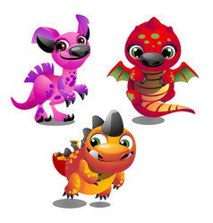 set of funny colorful fantasy pets with big vector image