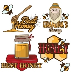 set of honey labels beekeeping logo vector image