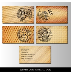 Set of wooden themed business card templates vector image