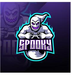 spooky ghost esport mascot logo design vector image