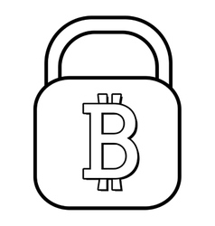 Square lock with bitcoin signal graphic vector