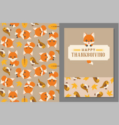 Thanksgiving wild animal seamless pattern and gree vector