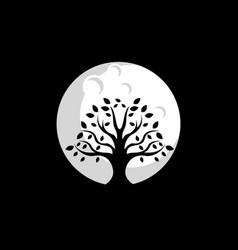 Tree moon logo design vector