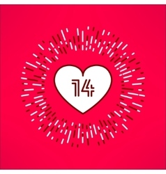 Valentines heart with fourteen number vector
