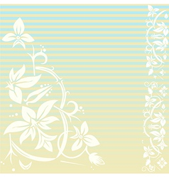 Vintage floral background with stripes vector