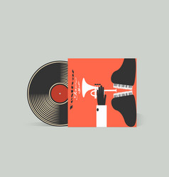 Vinyl record with jazz music original box for the vector