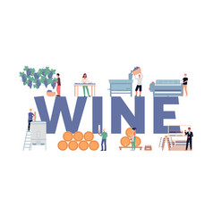 Wine making process concept a flat isolated vector