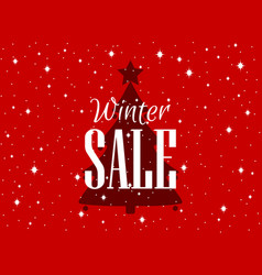 winter sale background with christmas tree and vector image