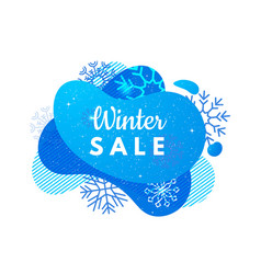 winter sale banner abstract blue shape vector image