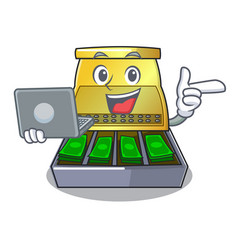With laptop electronic cash register isolated on a vector