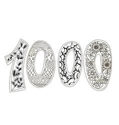 Zentangle numbers 1000 vector image
