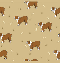 Awesome seamless pattern with cute dogs breed vector