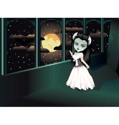 Fashion Zombie Girl on Balcony vector image