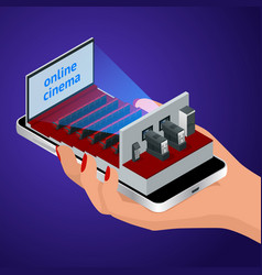 isometric live stream video player concept vector image vector image