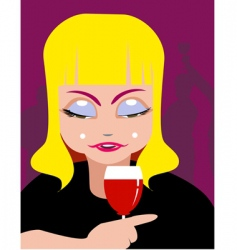 lady and wine vector image vector image