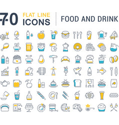 Set flat line icons drinks and food vector