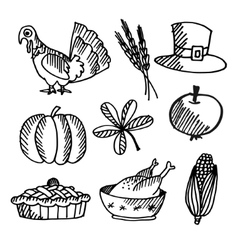 Set of thanksgiving black sketches objects vector image vector image