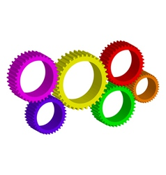 colorful cog-wheels vector image vector image