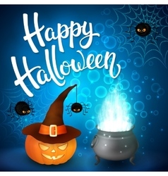 Halloween greeting card with witch cauldron hat vector