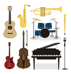 Jazz Music Instruments Objects Set vector image vector image