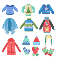 set of christmas design warm winter clothes scarf vector image vector image