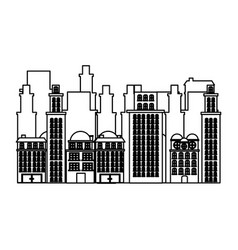 silhouette urban cityscape and residential vector image