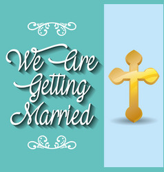 we are greeting married celebration vector image