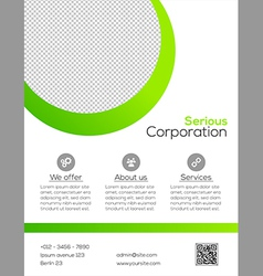 Business flyer template - green and white design vector image vector image