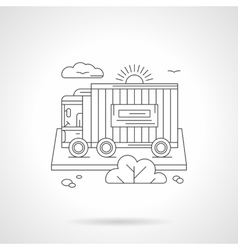 Freight car detailed line vector image vector image