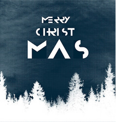 Merry Christmas Postcard design Halftone forest vector image vector image
