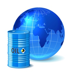 Metal barrel with oil and globe vector image