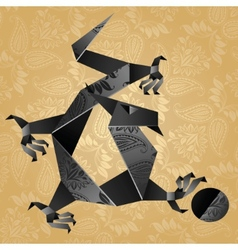 origami black water dragon vector image
