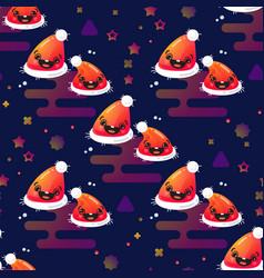 smiling santa hat seamless pattern vector image vector image