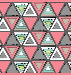 tribal pink green grey pattern simple vector image